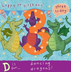 AGE 3 Dancing Dragons Birthday Card TW059